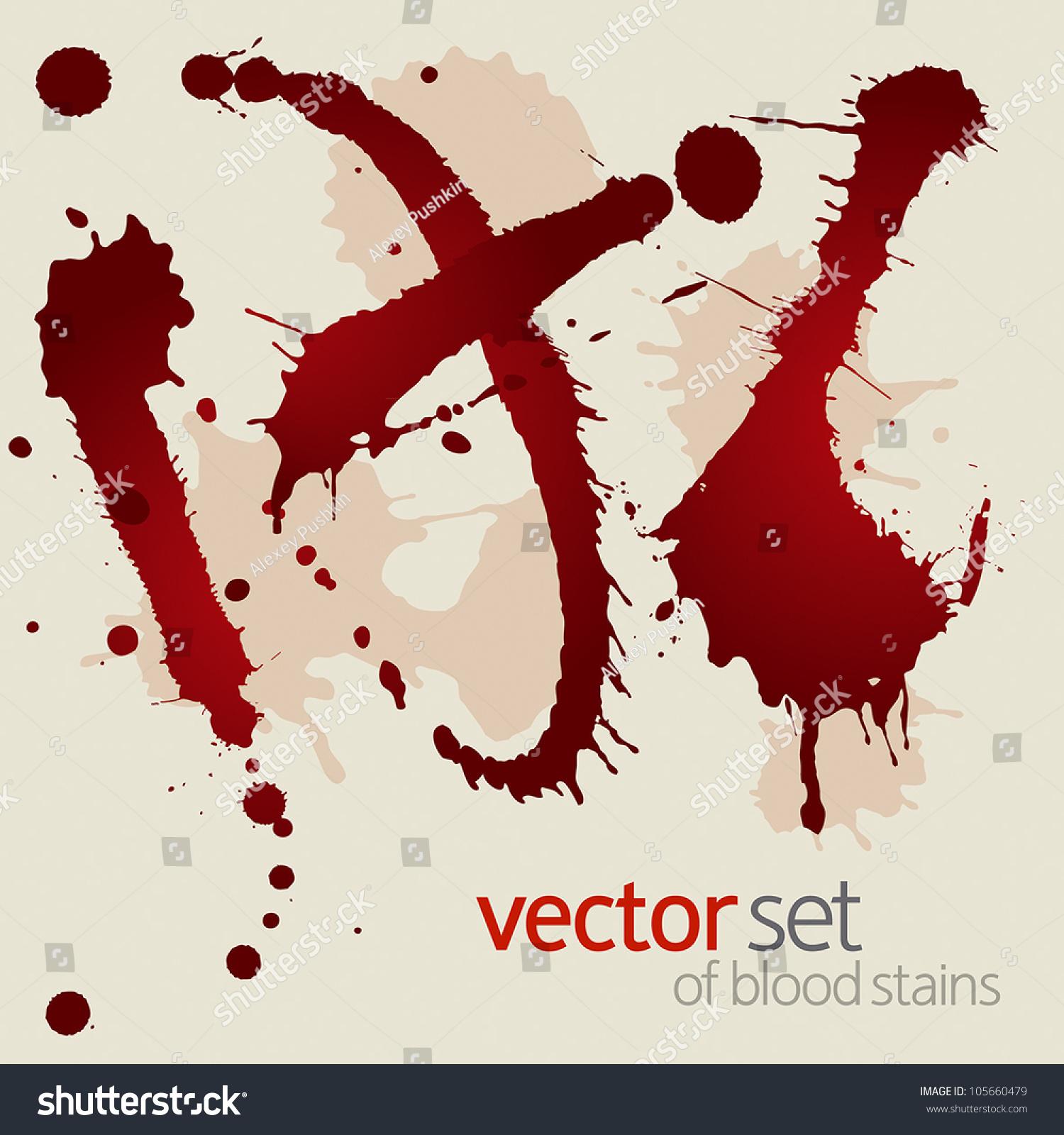 Set Of Blood Stains Stock Vector Illustration 105660479 : Shutterstock