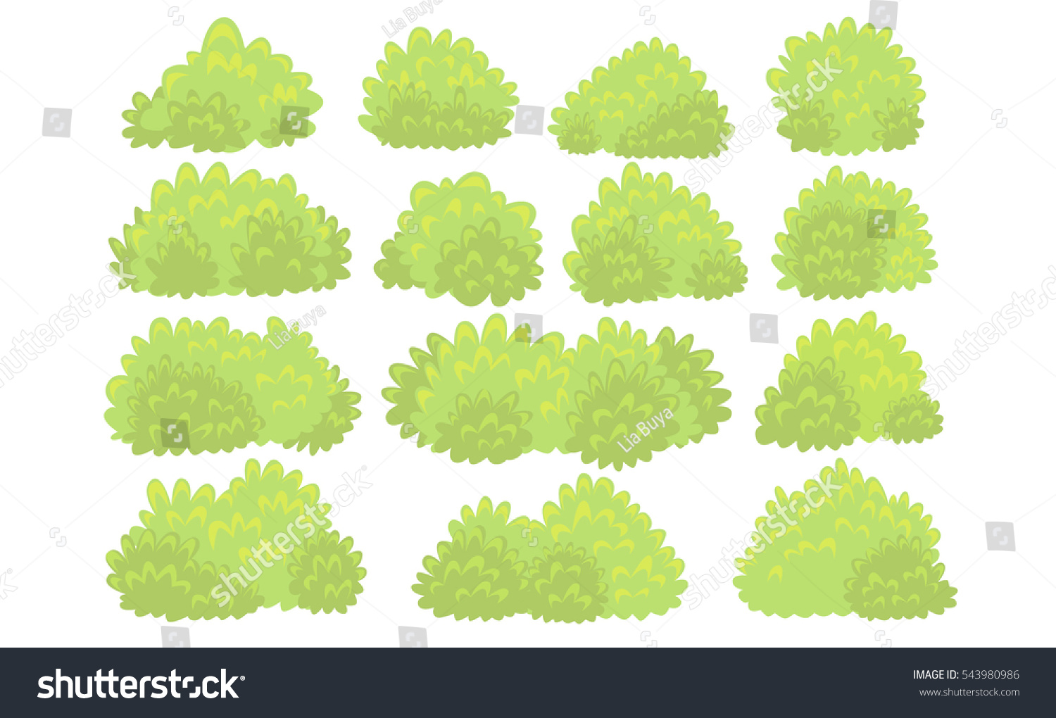 Set Bushes Handdrawn Style Decoration On Stock Vector