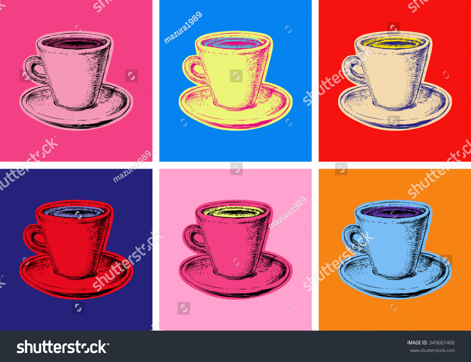 Set Coffee Mug Vector Illustration Pop Stock Vector