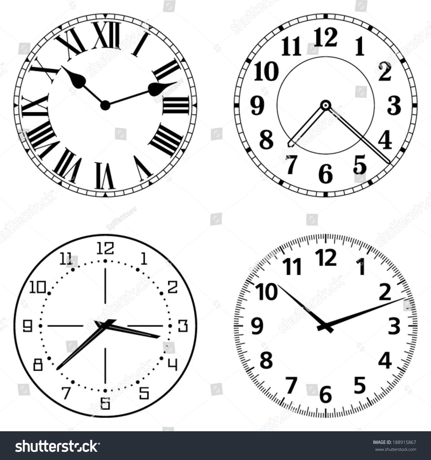 Set Of Different Clock Faces Editable Clock Easily Remove And Replace Hands And Design Stock