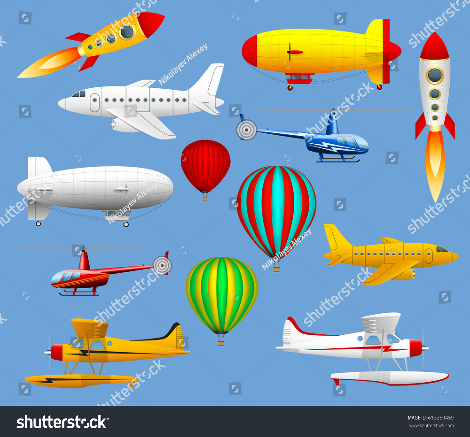 Set Different Types Air Transport Airplanes Stock Vector