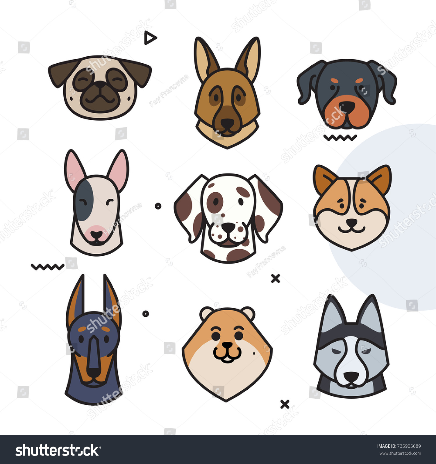 Set Dog Trend Labels Year Stock Vector