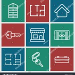 Set 9 Door Outline Icons Such Stock Vector Royalty Free