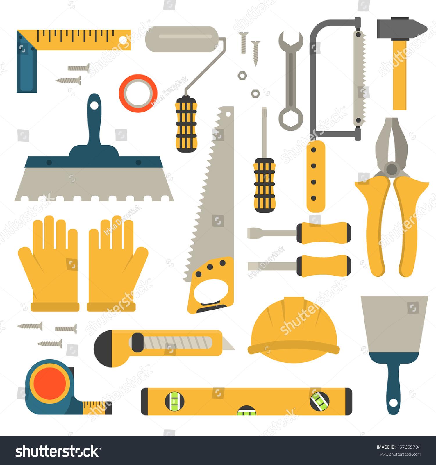 Set Flat Construction Tools Vector Equipment Stock Vector