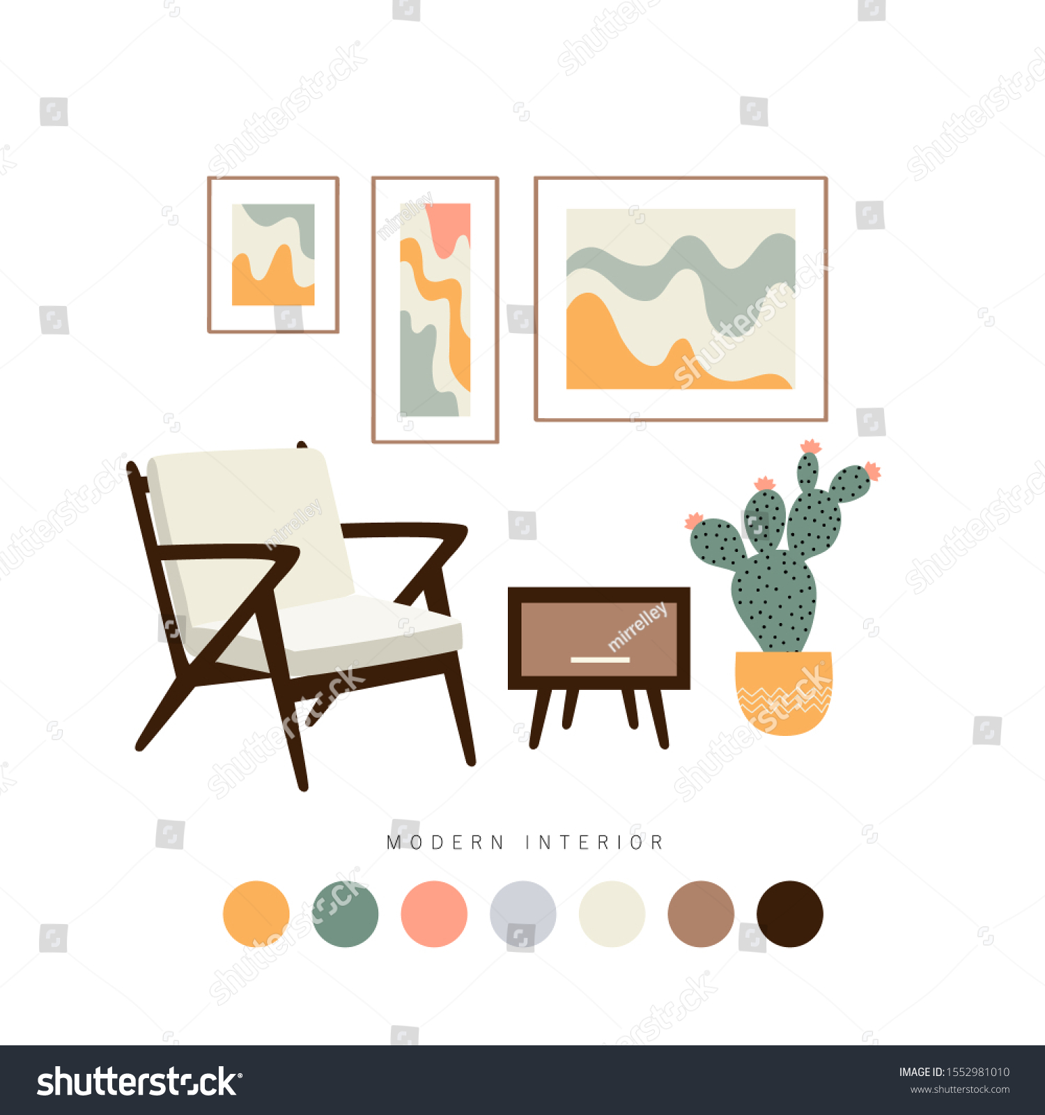 Set Furniture Interior Home Accessories Mid Stock Vector Royalty Free 1552981010