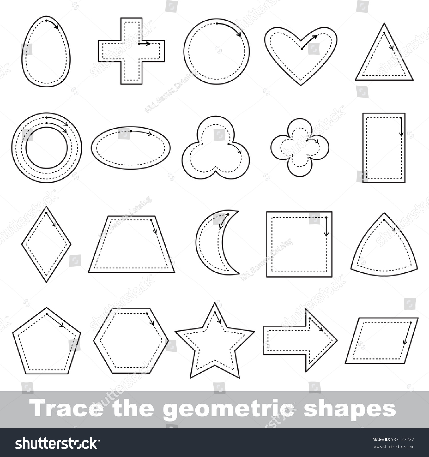 Set Geometric Forms Dot Dot Educational Stock Vector