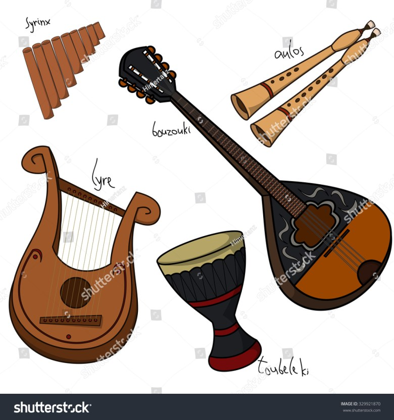 set hand drawn traditional greek musical stock-vektorgrafik