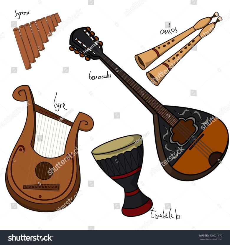 set hand drawn traditional greek musical stock-vektorgrafik