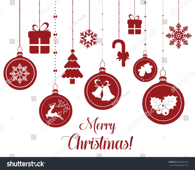 Set Hanging Christmas Baubles Reindeer Angel Stock Vector