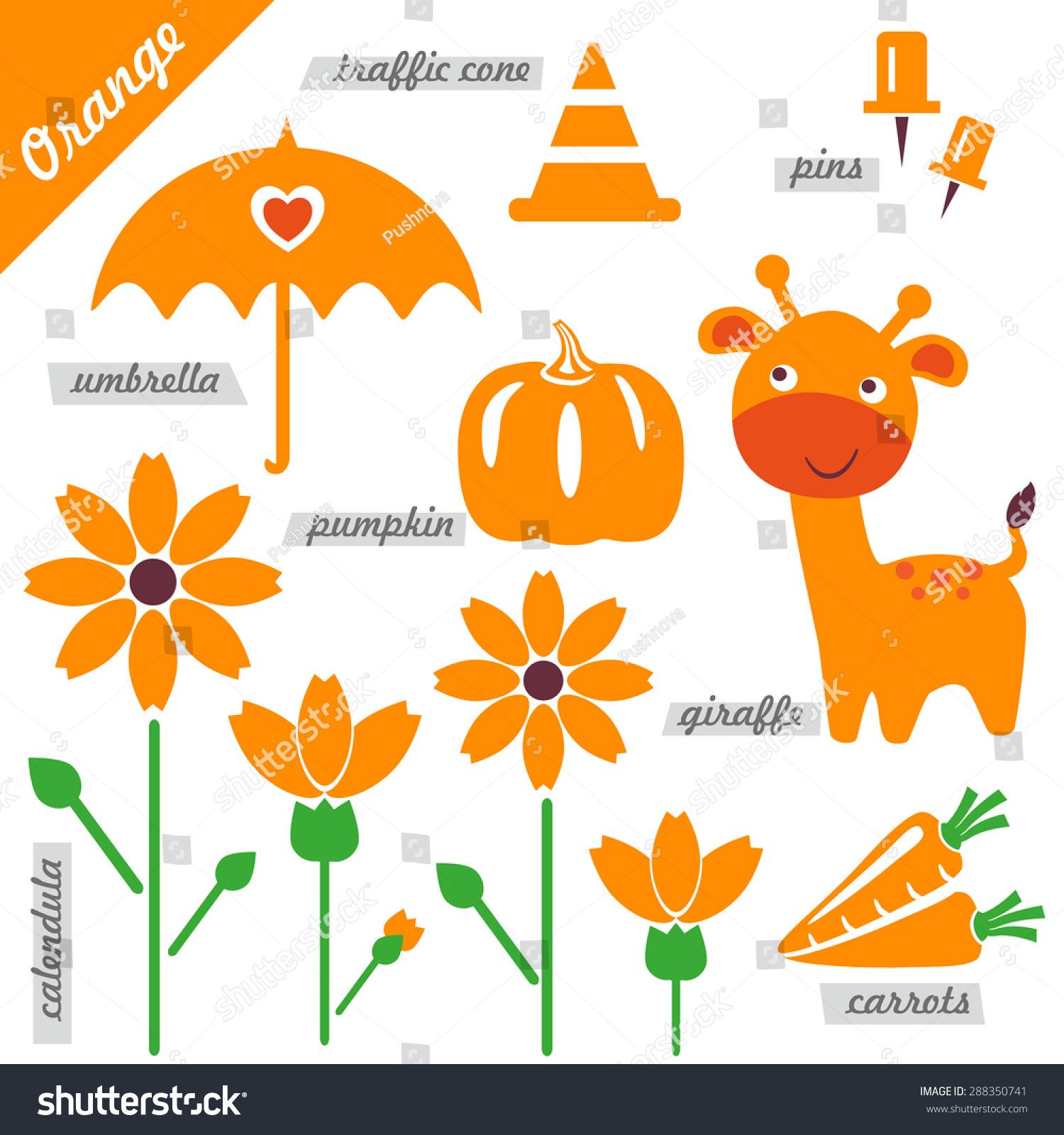 Set Images Examples Orange Color Kids Stock Vector