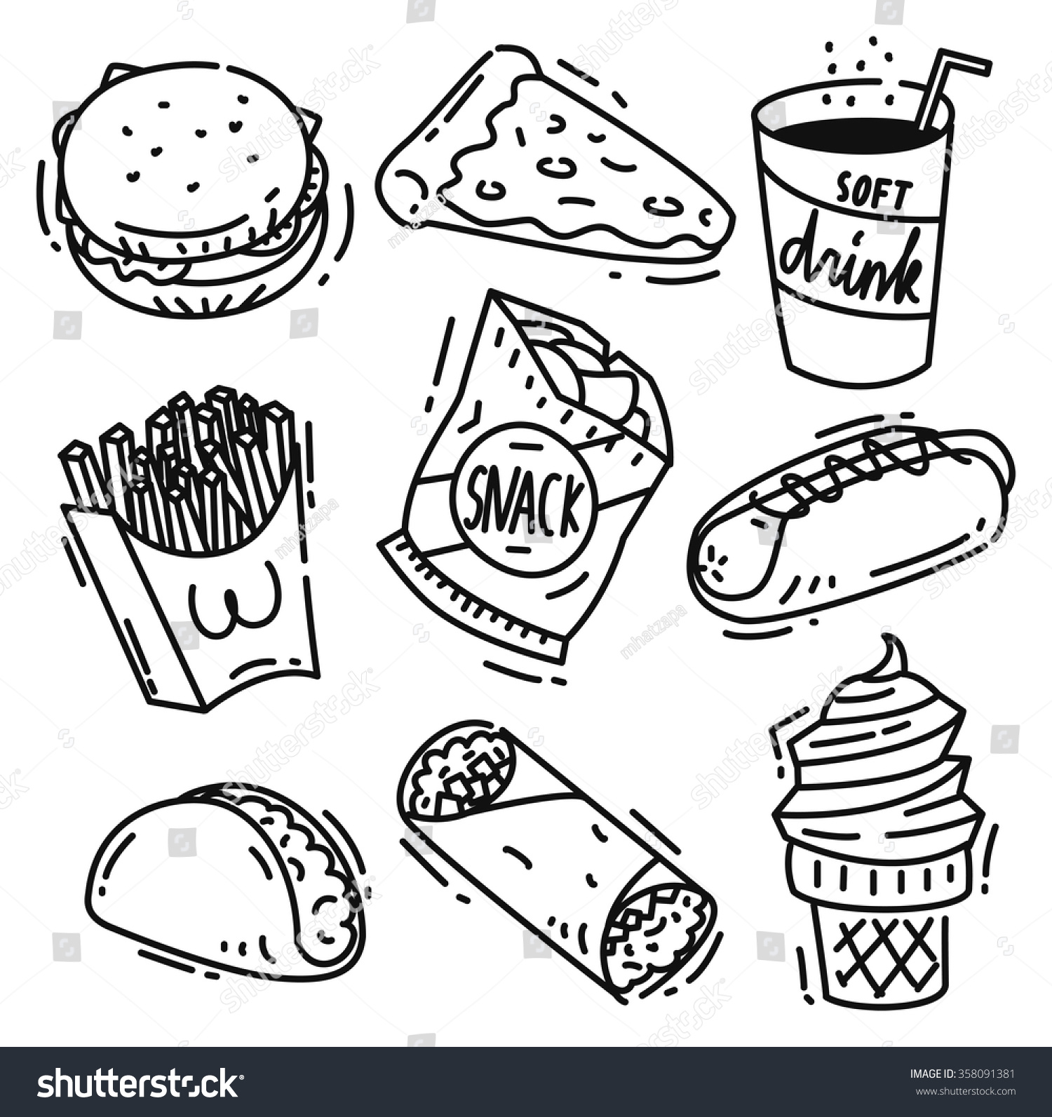 Set Of Junk Food Icon Doodle Isolated On White Background Burger Pizza Soft Drink French