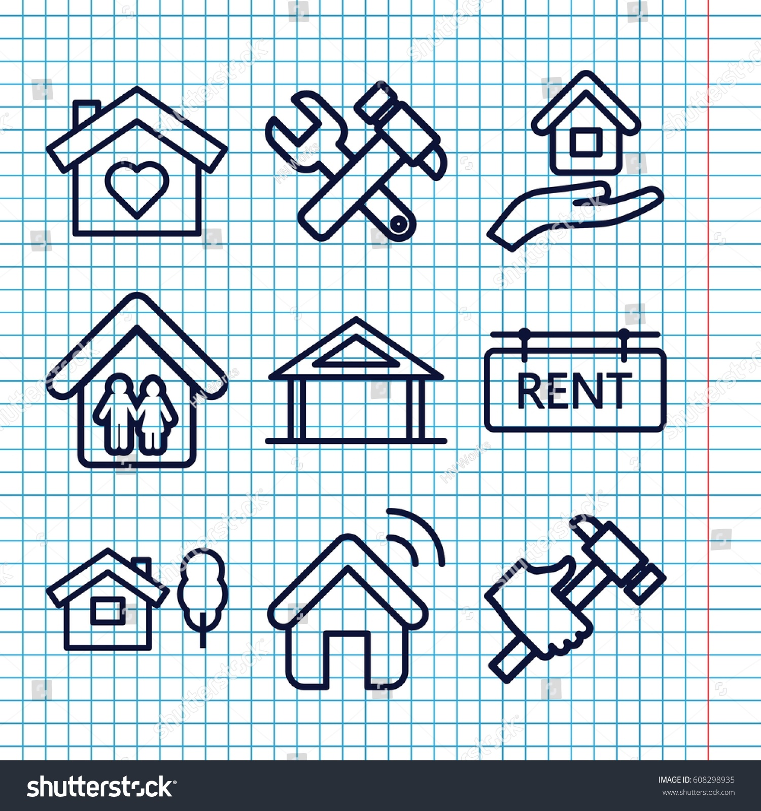 Set 9 Property Outline Icons Such Stock Vector