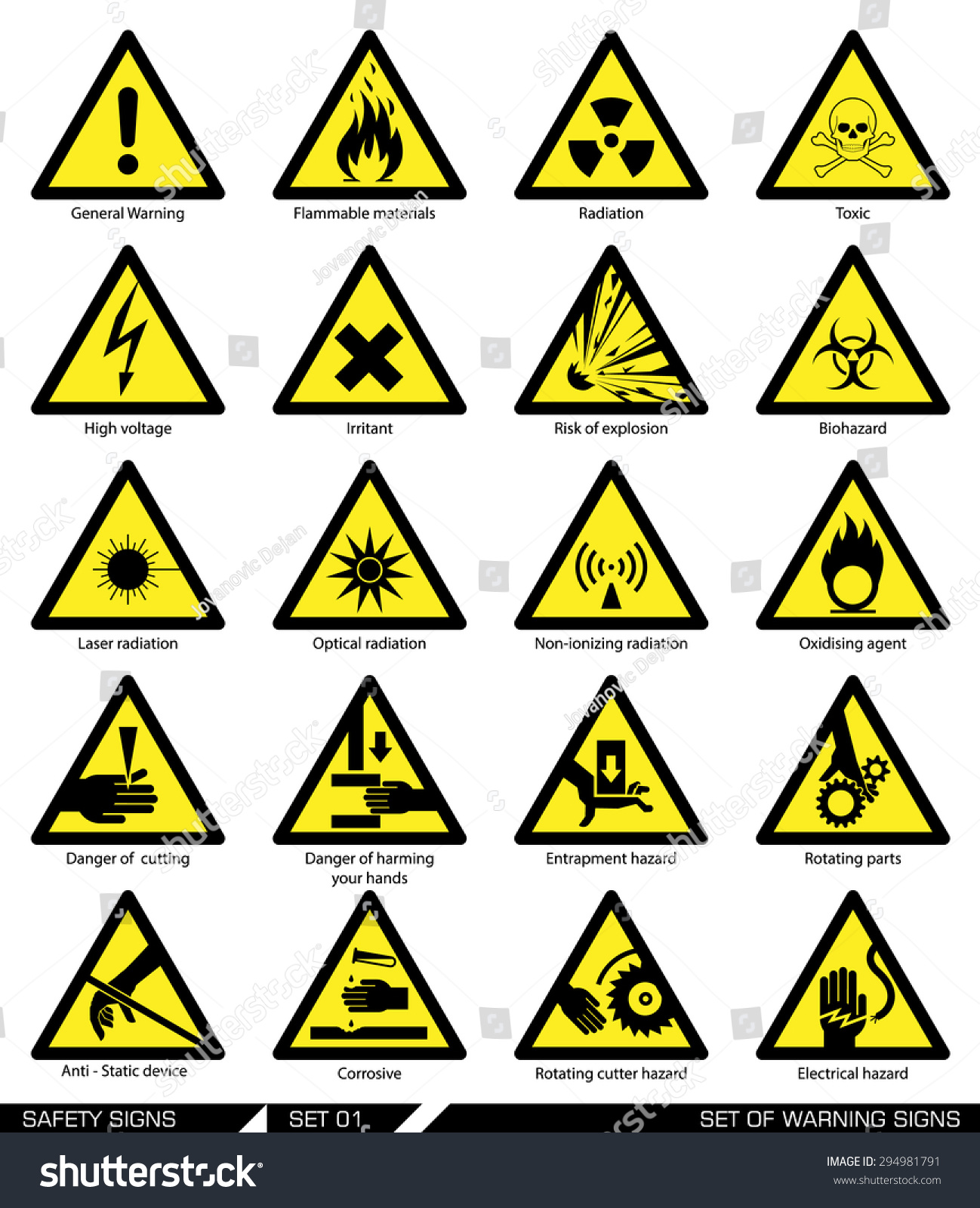 Set Of Safety Signs Caution Signs Collection Of Warning