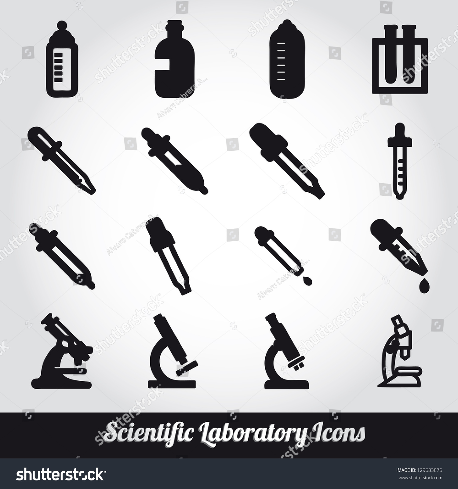 Set Of Scientific Laboratory Equipment Symbols Stock Vector Illustration Shutterstock