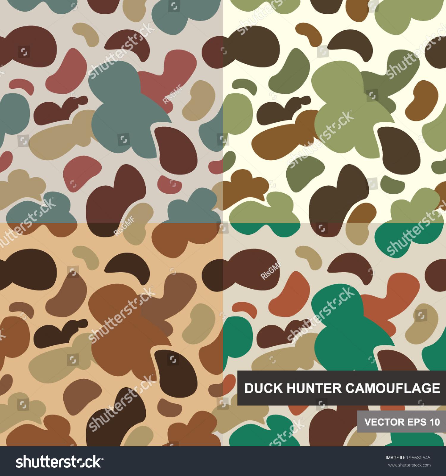 Set Seamless Camouflage Pattern Duck Hunter Stock Vector