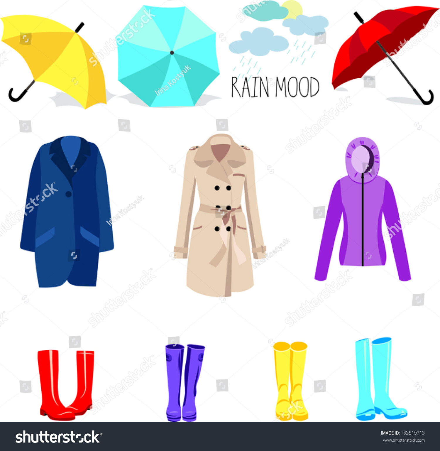 Set Seasonal Clothes Woman Vector Illustration Stock