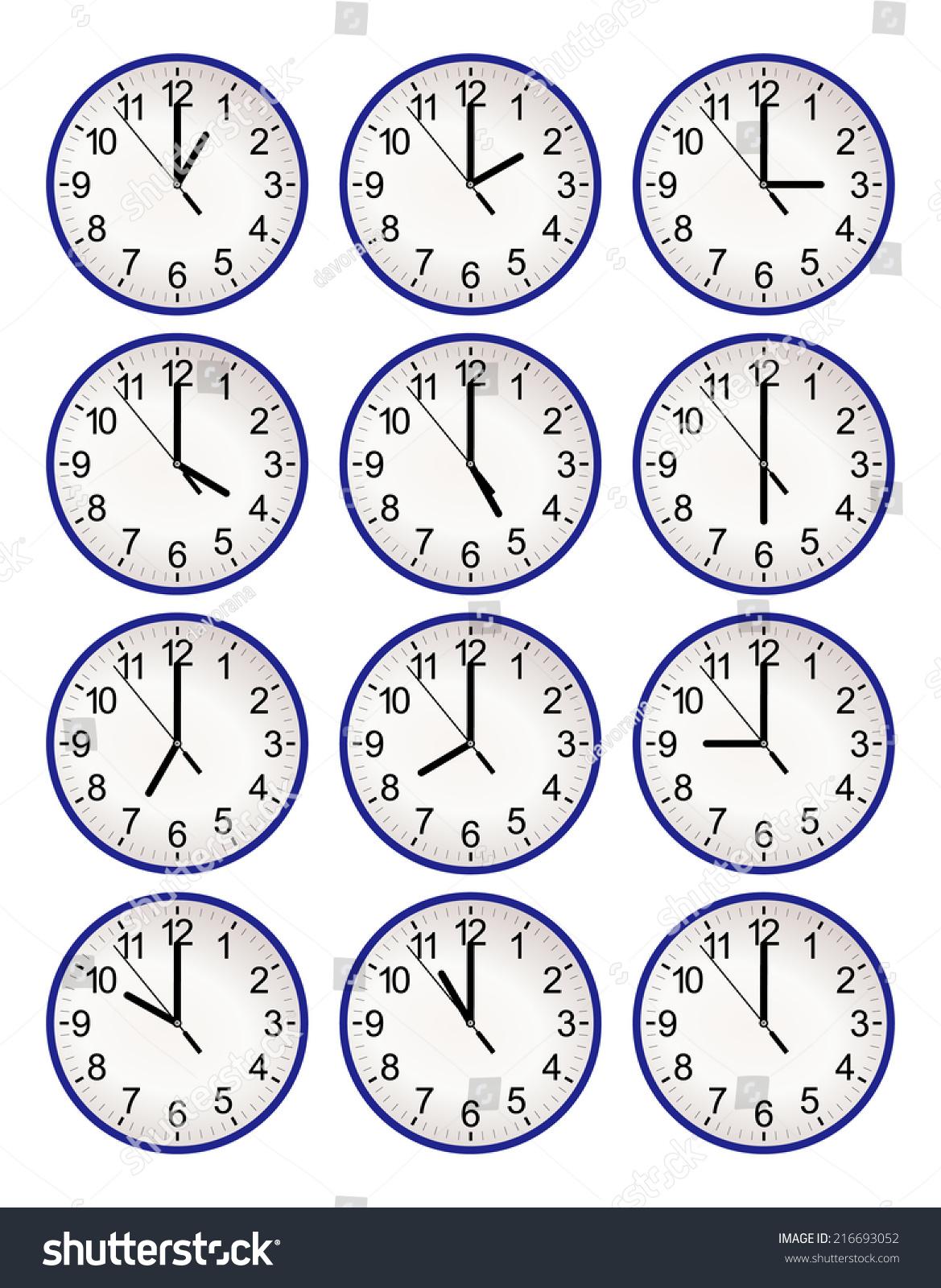 Set Twelve Wall Clock Every Hour Stock Vector