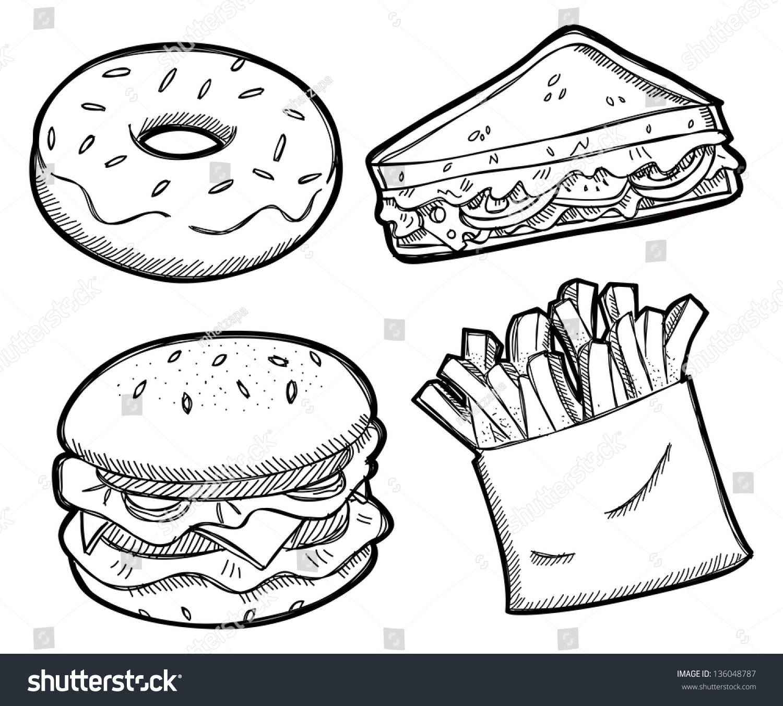 Set Unhealthy Food Stock Vector