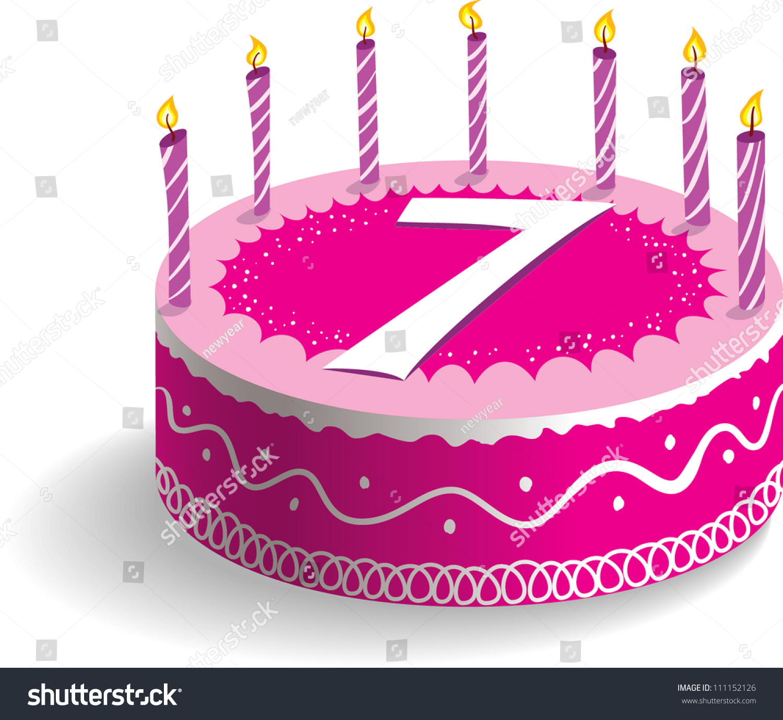 Seventh Birthday Cake Stock Vector 111152126 - Shutterstock (1500 x 1378 Pixel)