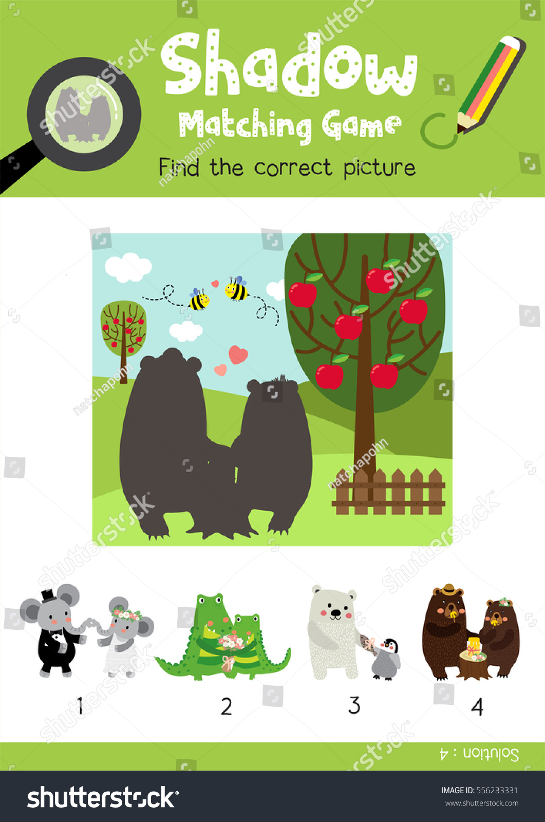 Shadow Matching Game By Finding Correct Stock Vector
