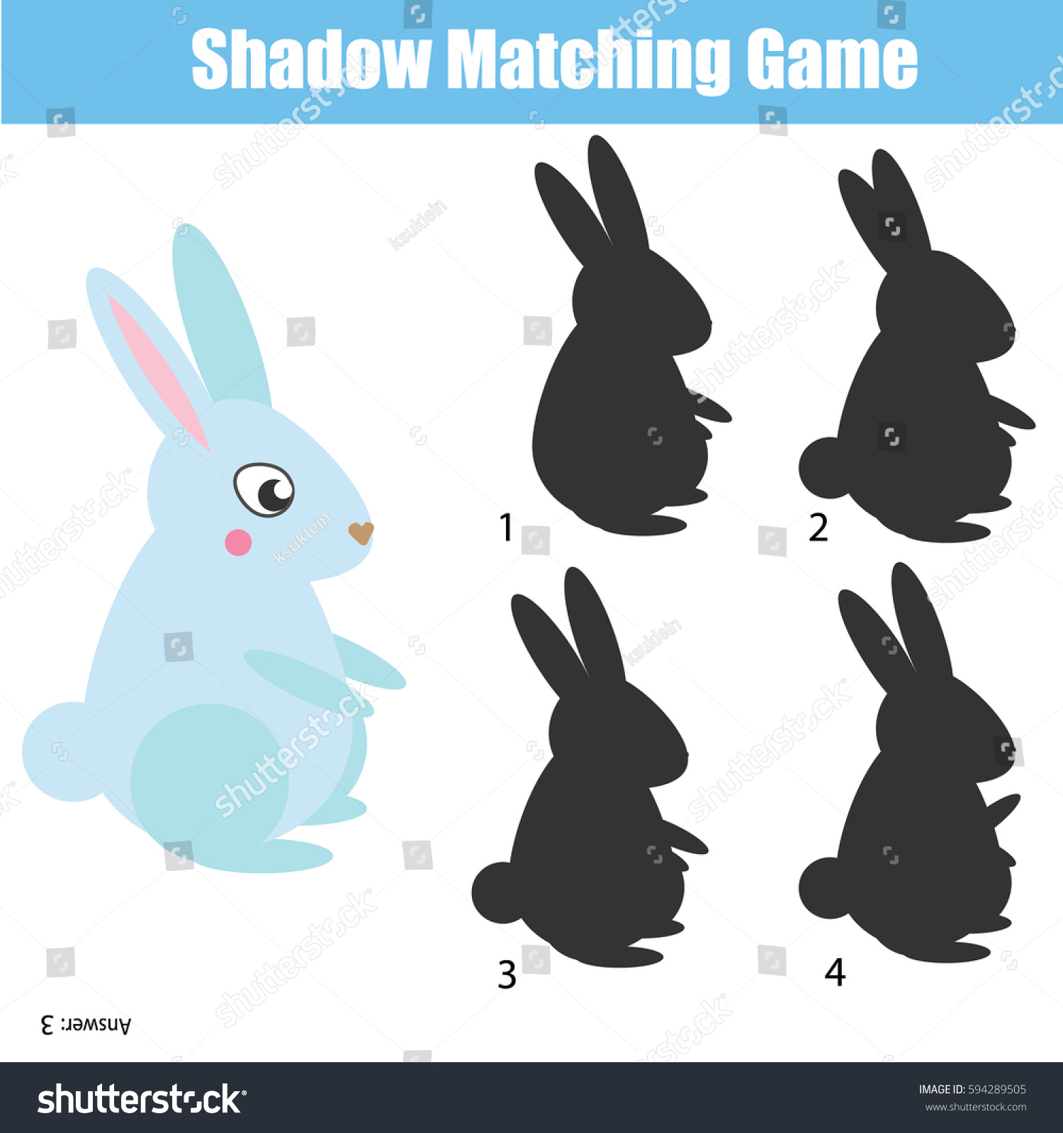 Shadow Matching Game Children Find Right Stock Vector