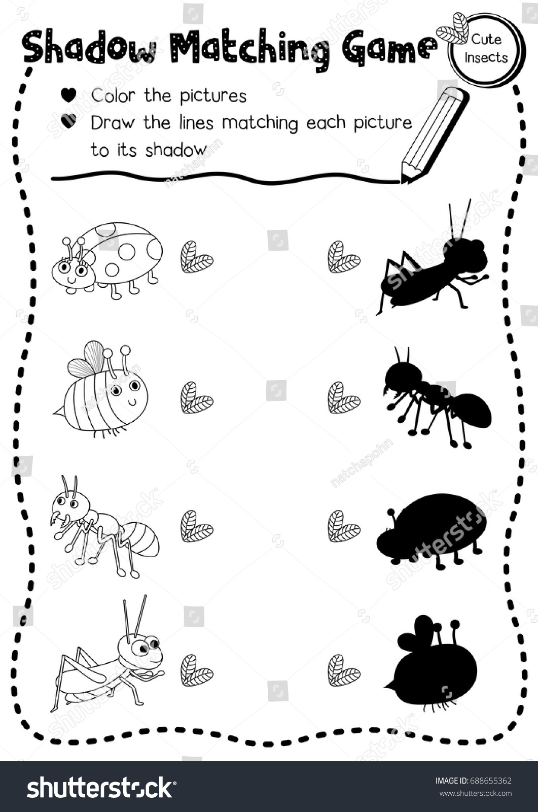 Shadow Matching Game Insect Bug Animals Stock Vector