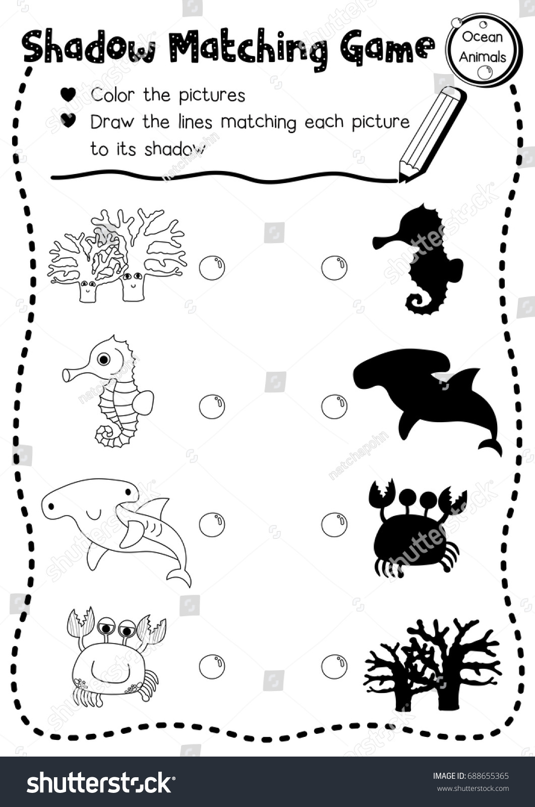 Shadow Matching Game Ocean Animals Preschool Stock Vector