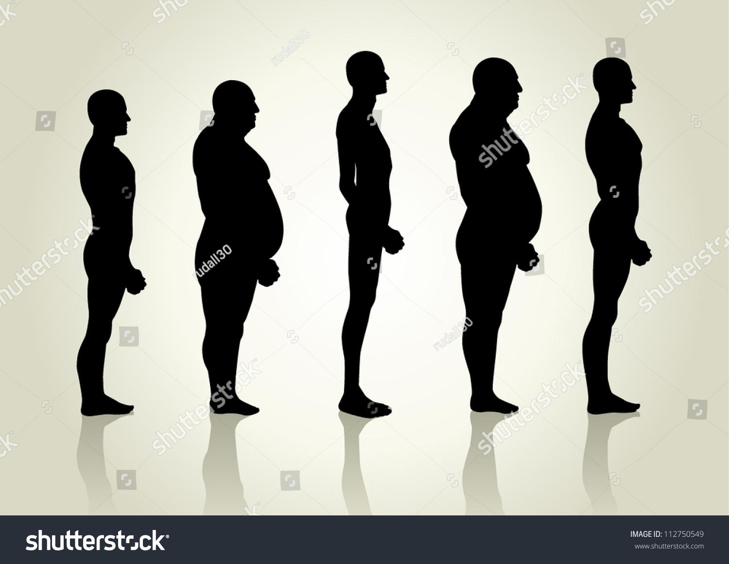 Silhouette Illustration Men Figure Side View Stock Vector