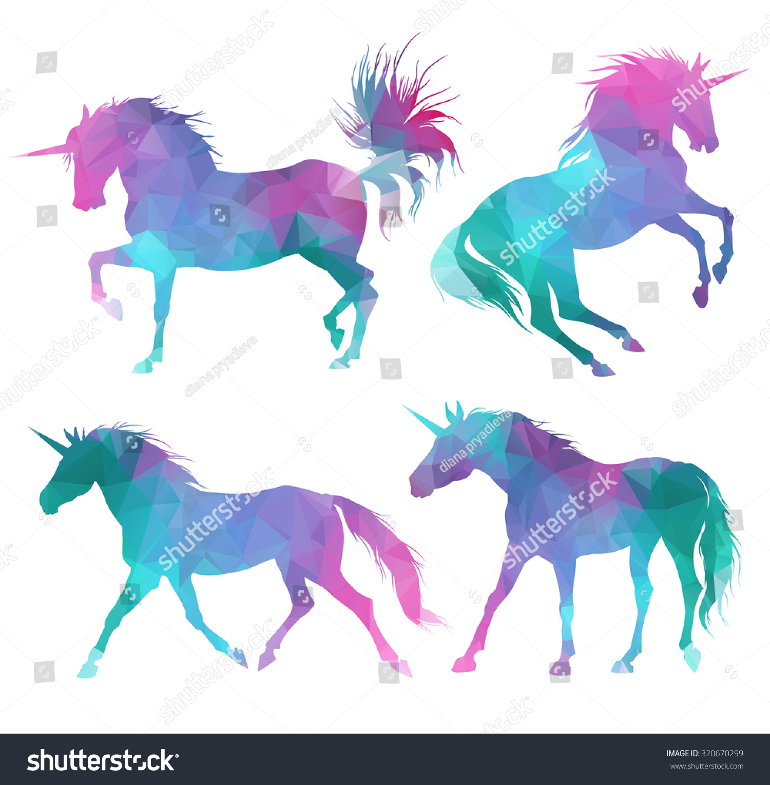 silhouette of unicorns colorful triangular style stock vector