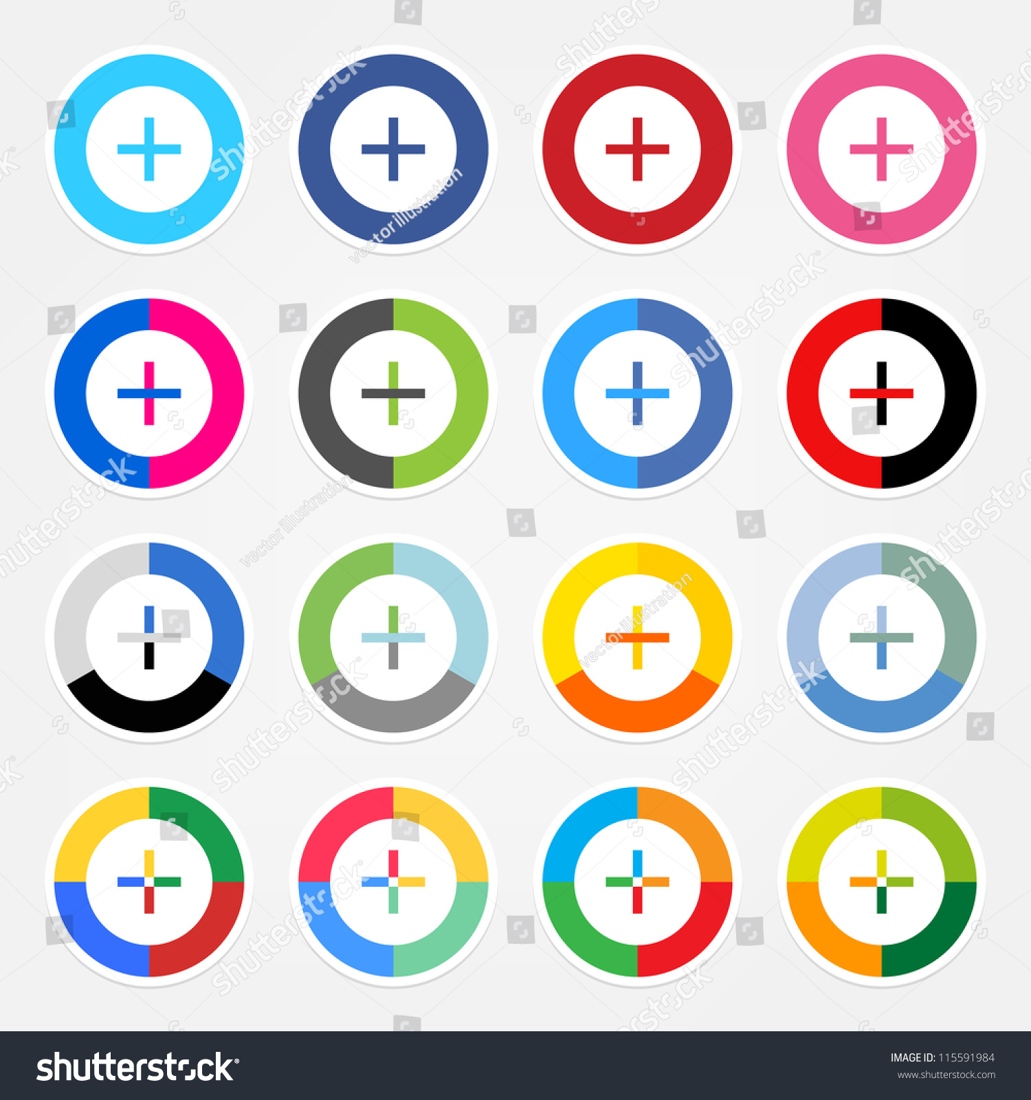 Simple Popular Social Networks Icon With Plus Sign