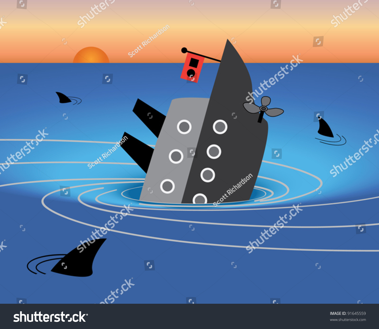 Sinking Ship Stock Vector Shutterstock