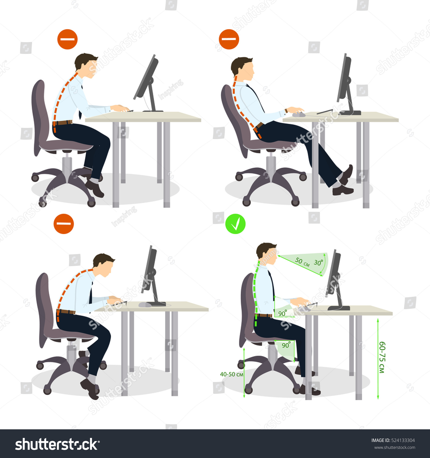 Sitting Posture Set Right Wrong Positions Stock Vector