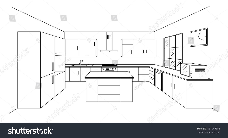 Sketch Modern Kitchen Plan Island Single Stock Vector