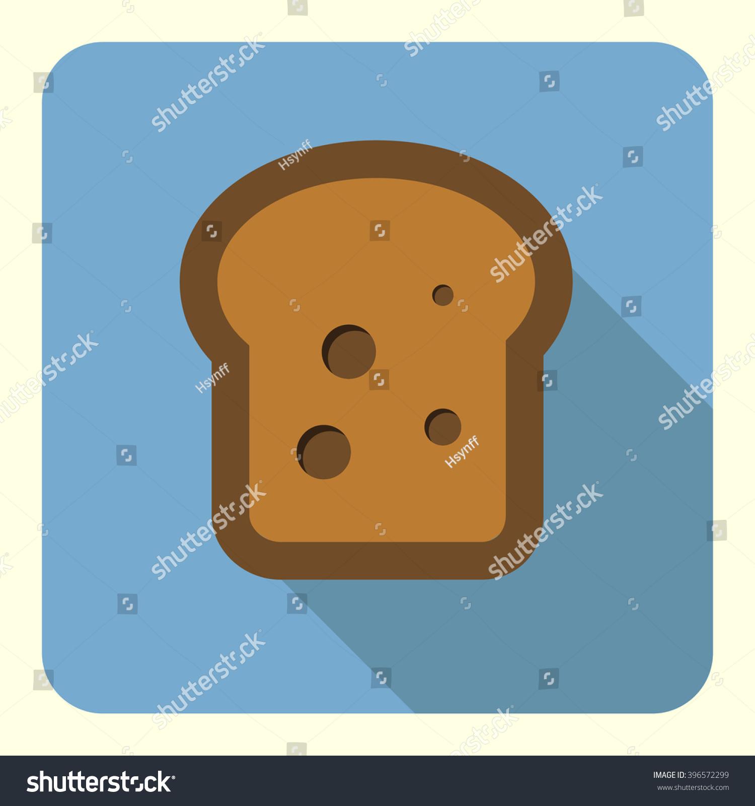 Slice Bread Flat Icon Food Icon Stock Vector 396572299