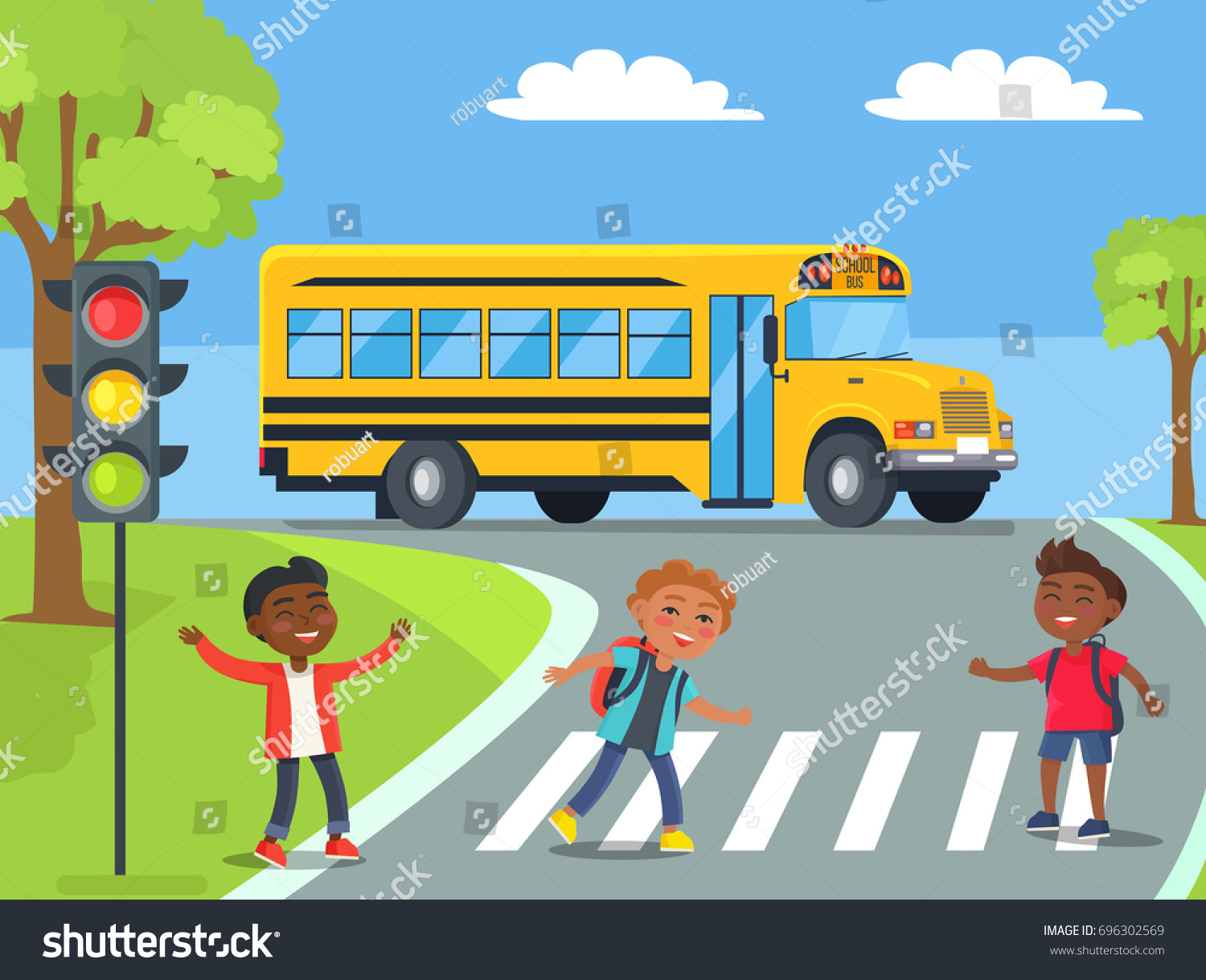 Smiling Boys Standing On Pedestrian Crossing Stock Vector