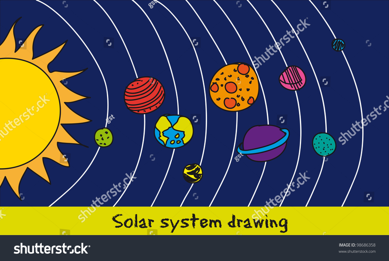 Solar System Drawing Over Blue Background Stock Vector