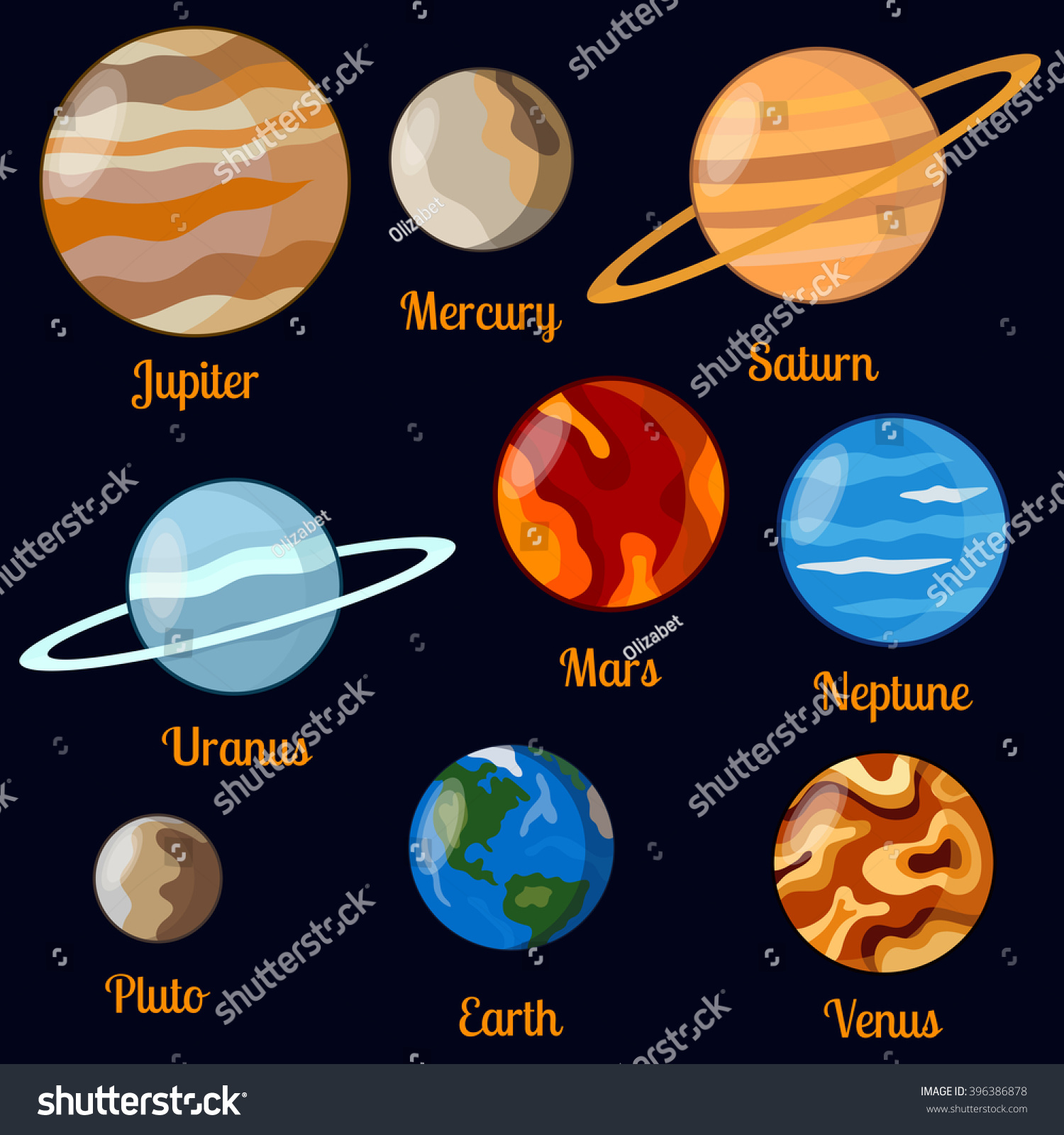 Solar System Planets Vector Set Nine Stock Vector