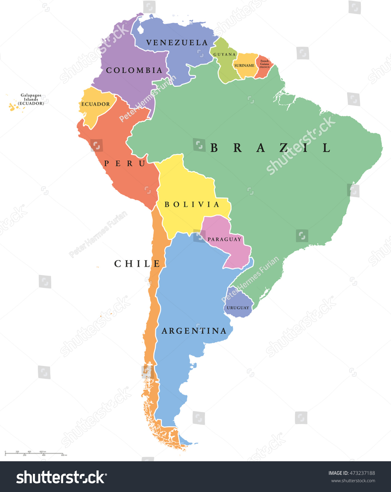 South America Single States Political Map Stock Vector