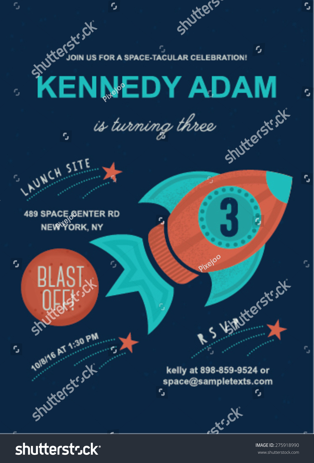 https www shutterstock com image vector space theme birthday invitation card template 275918990