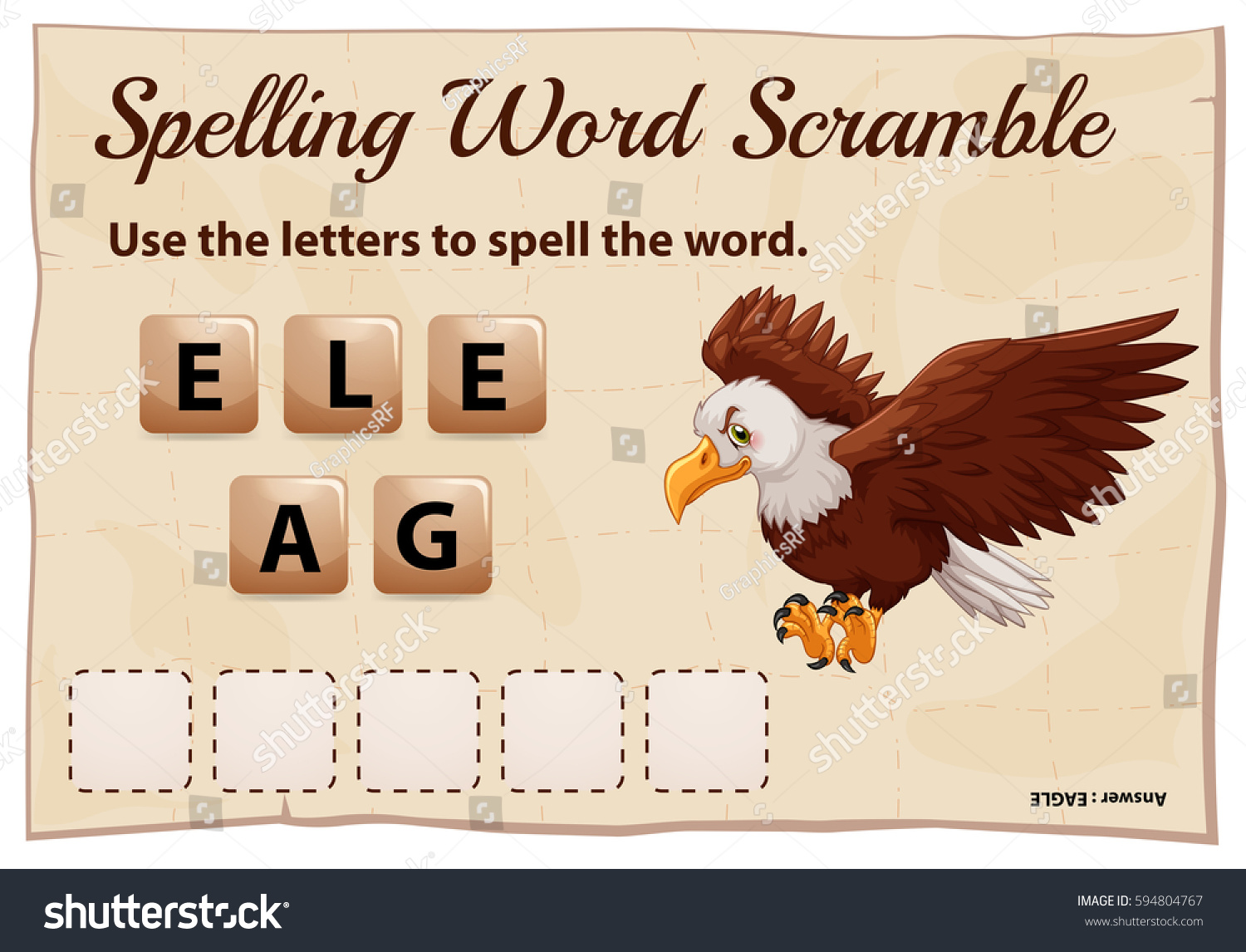 Spelling Word Scramble Game Word Eagle Stock Vector