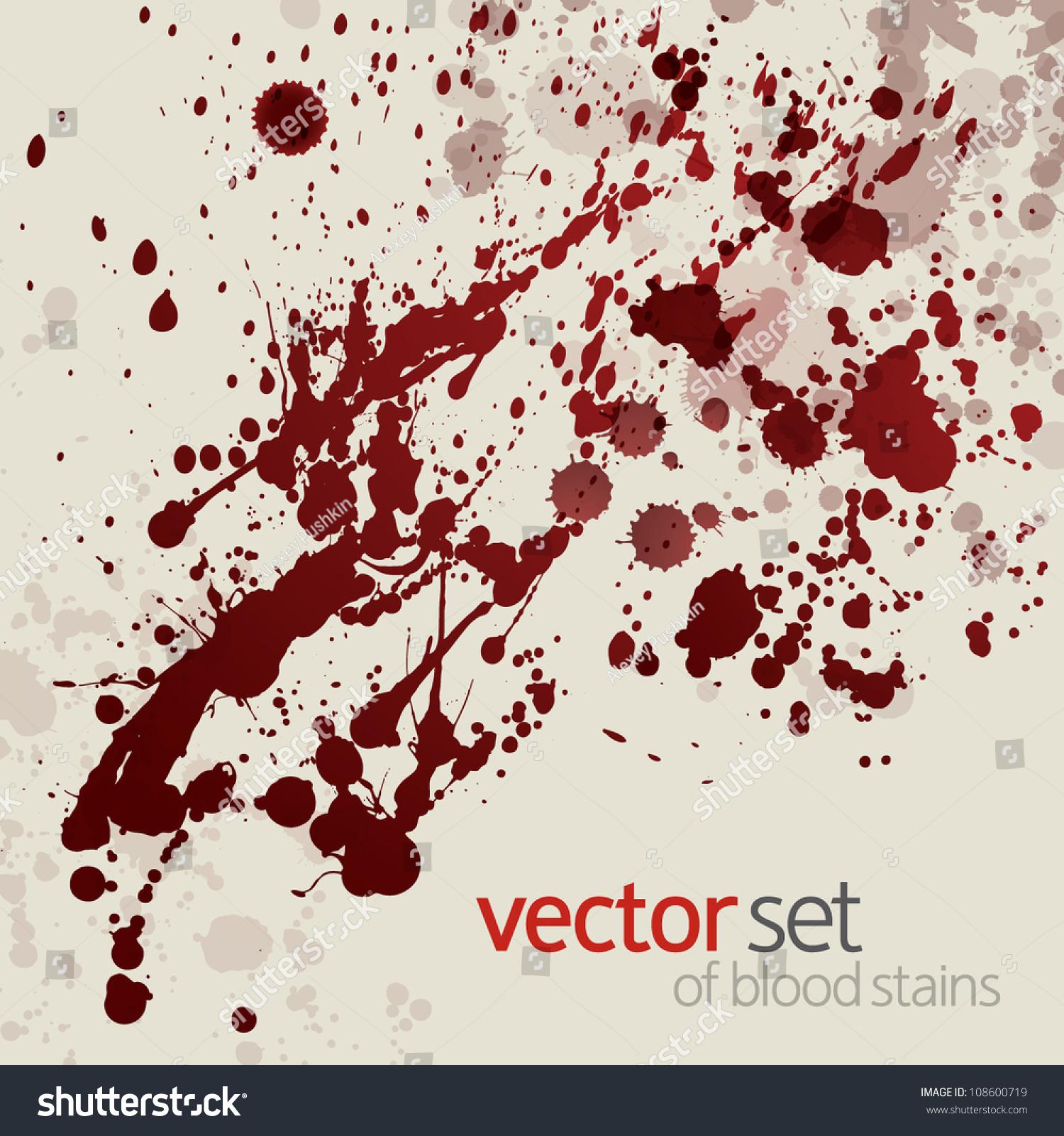 Splattered Blood Stains, Set 14 Stock Vector Illustration 108600719 : Shutterstock