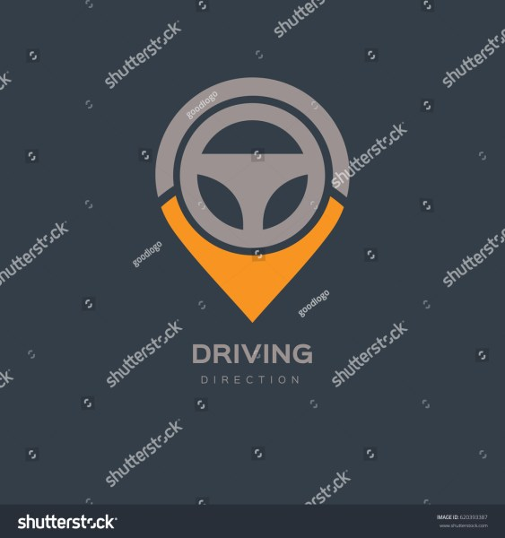 Steering Wheel Map Location Navigation Logo Stock Vector 620393387     Steering Wheel Map Location Navigation Logo Design