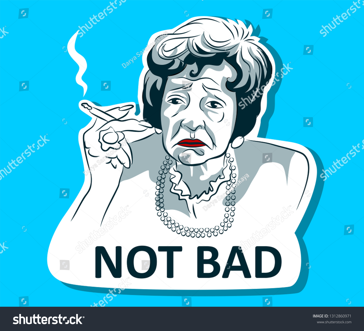 Sticker Internet Meme Old Woman Smoking Stock Vector Royalty Free
