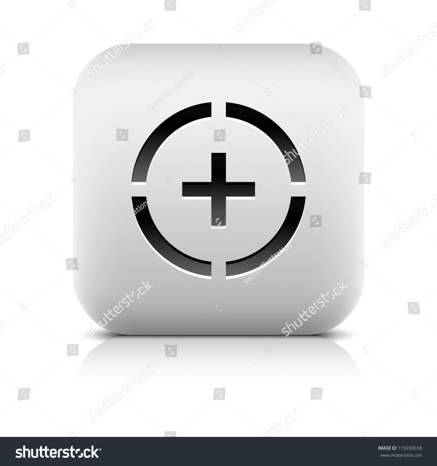 Stone Web Button Plus Sign In Circle Symbol White Rounded