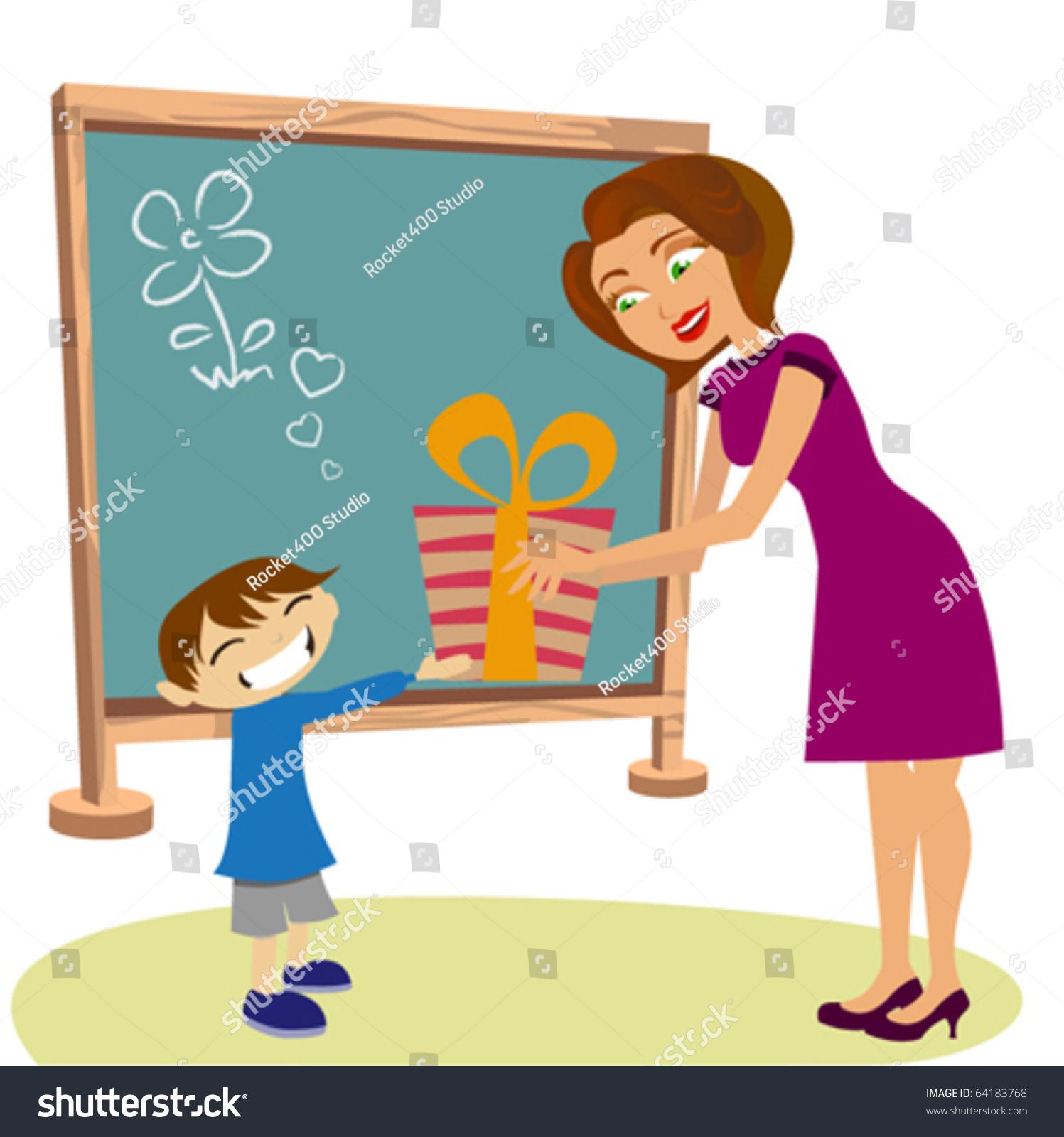Student Giving T Her Teacher Stock Vector