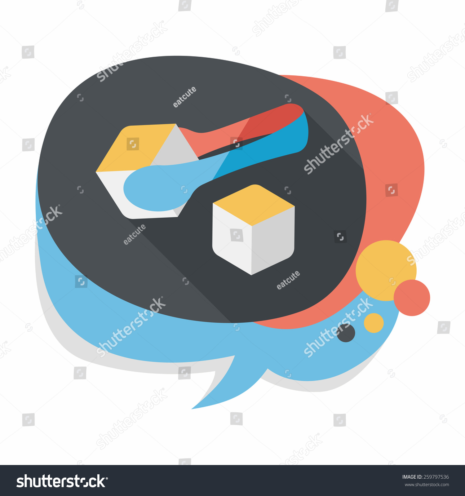 Sugar Cubes Flat Icon With Long Shadow Eps10 Stock Vector