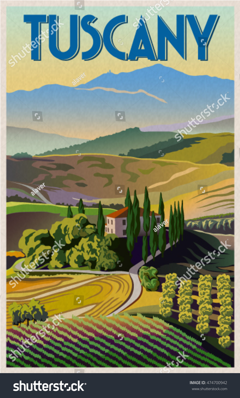 Summer Day Tuscany Italy Poster Art Stock Vector 474700942
