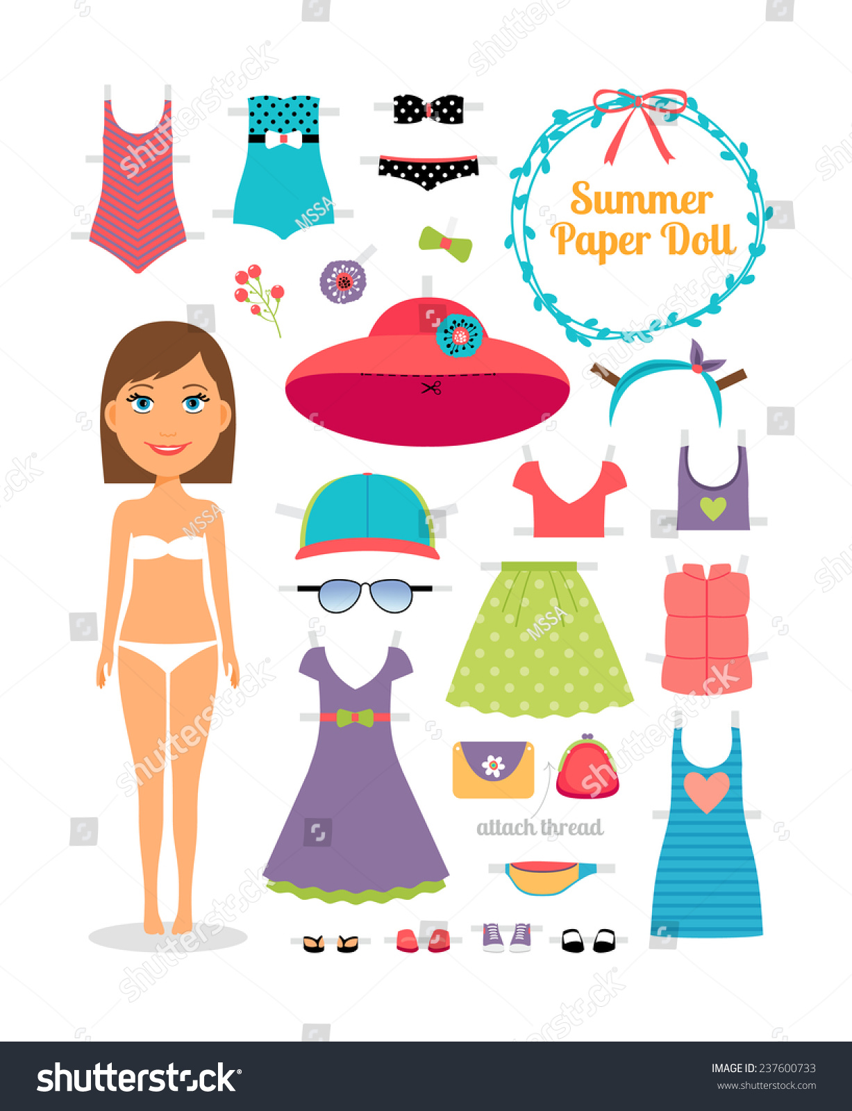 Summer Paper Doll Girl Dress Hat Stock Vector