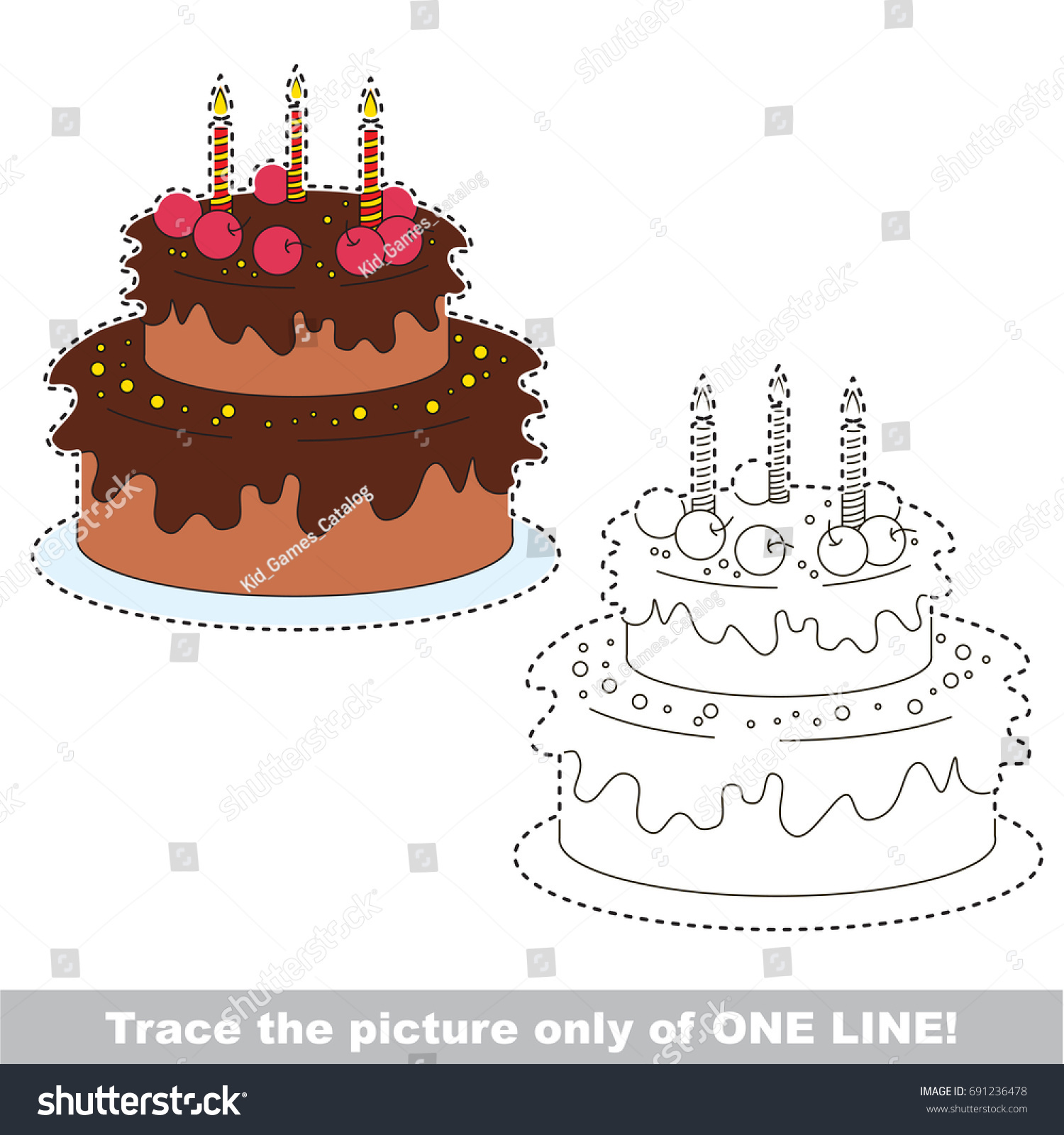 Sweet Cake Be Traced Only One Stock Vector