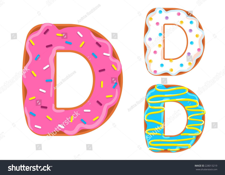 Sweet Donut Font Vector Letter D Stock Vector